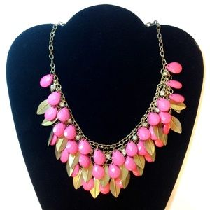 Jewelry - Multi Layered Necklace Pink Gold Clear Rhinestones